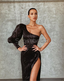 Charming One Shoulder Black Sequin Mermaid Formal Prom Dresses PD2173
