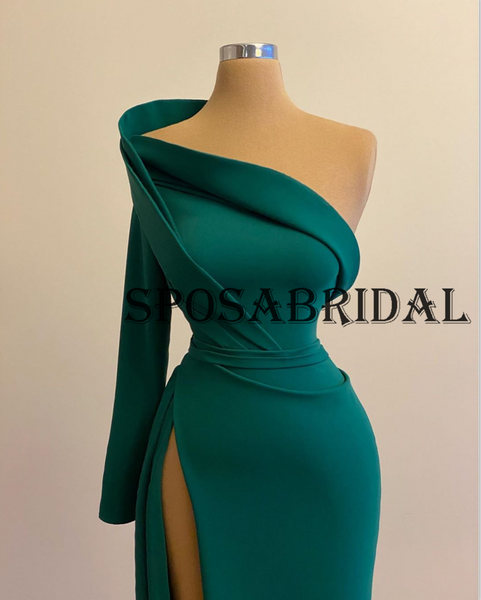 Charming One Shoulder Green Mermaid Evening Prom Dresses PD2363