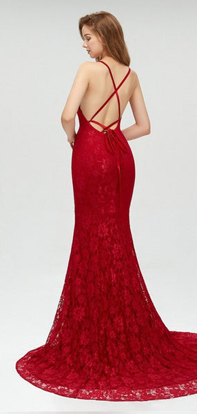 Charming Red Lace Prom Dress, Spaghetti Straps Sexy Mermaid Prom Dresses, Evening Dress, PD0438