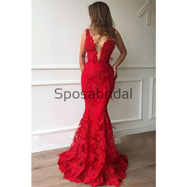 Charming Red Lace V-Neck Mermaid Modest Formal Prom Dresses PD2177