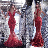 Charming Sexy Red Lace Mermaid Modest Prom Dresses PD2267