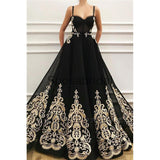 Charming Straps Black Tulle Modest Prom Dresses With Appliques PD2150