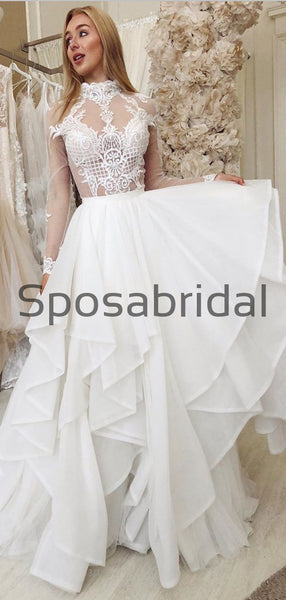 Charming Unique Lace High Neck Long Sleeves Wedding Dresses, Prom Dresses WD0444