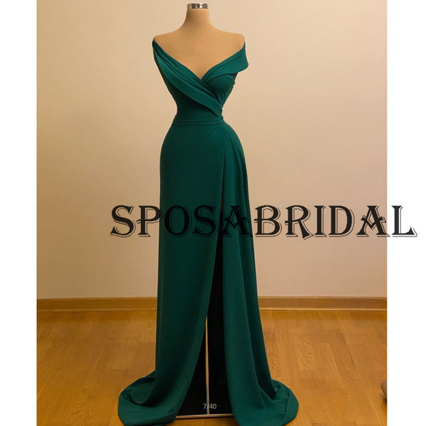 Charming V-Neck Green Mermaid Evening Prom Dresses PD2366