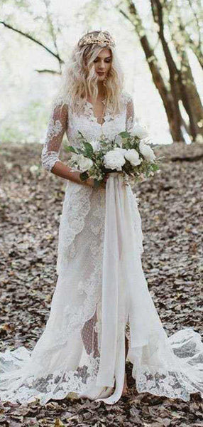 Charming V-neck Lace Beach Wedding Dresses with train WD0615