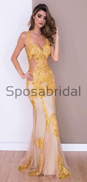 Charming Yellow Lace Fashion Mermaid Elegant Formal Prom Dresses, Evening dresses PD1852