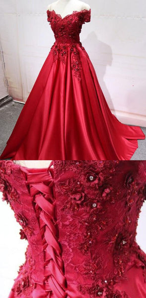 Charming A-Line Off-the-Shoulder Pleated Burgundy Satin Prom Dress with Appliques, PD1223