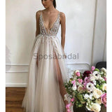 Charming A-line V-Neck Silver Tulle Sequin Sparkly Shining Elegant Formal Modest Prom Dresses PD1780