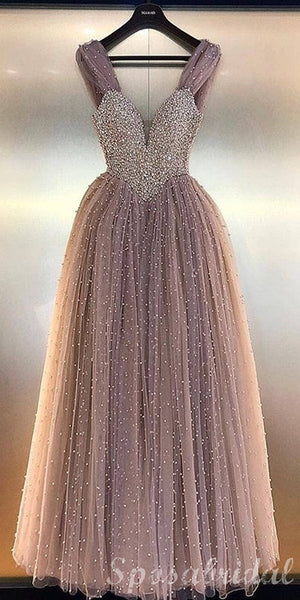 Charming Beading Sparkly Pretty Modest Long Gorgeous Custom Long Prom Dresses, PD1389