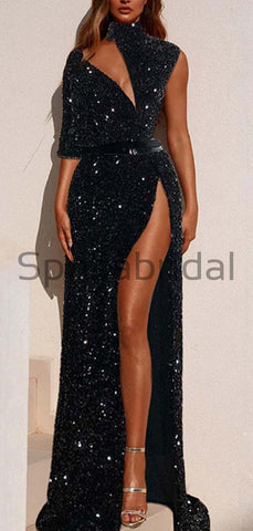 products/Charming_Black_Sequin_High_Neck_Side_Slit_Unique_Modest_Prom_Dresses_Evening_Dress_2.jpg