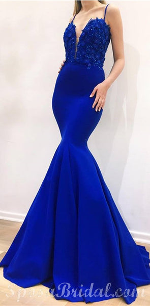 Charming Blue Mermaid Spaghetti Straps Sexy  Formal Prom Dresses, Evening Dress , PD1340