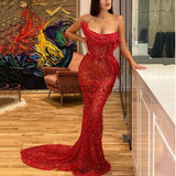 Charming Mermaid Elegant Boat Neck Sleeveless Sexy Formal Prom Dresses PD1949