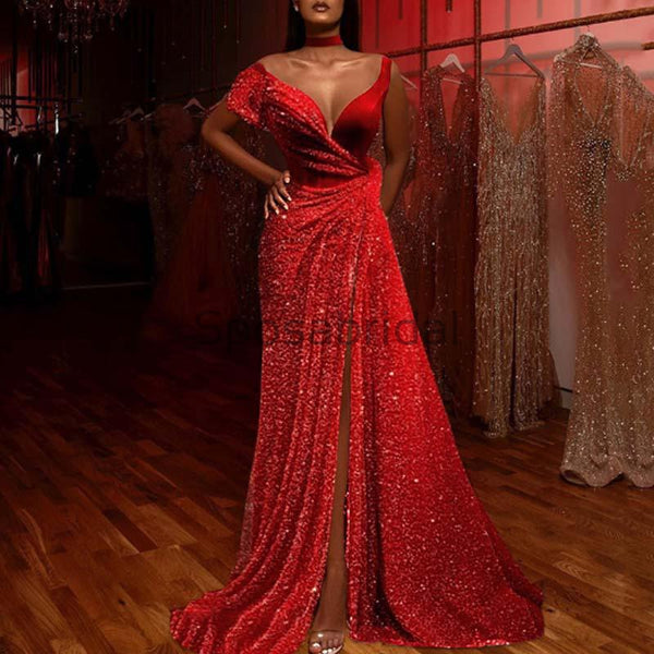 Charming Mermaid Long Sparkly Unique Formal Long Prom Dresses PD1953