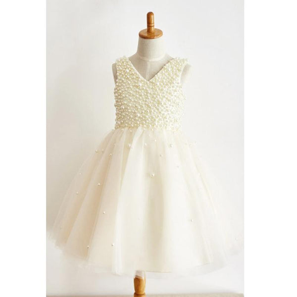 Charming Cheap A-Line V-Neck Floor-Length Ivory Tulle Flower Girl Dress with Pearls, FG127 - SposaBridal