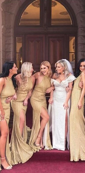 Charming Custom Sparkly Sheath Halter Backless Long Gold Bridesmaid Dresses with Split, WG398