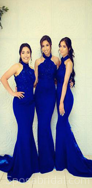 Charming Elegant Long Top Lace Halter Mermaid Bridesmaid Dresses withTrain, WG532