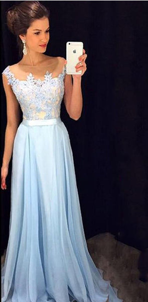 Charming Lace chiffon Blue  Cheap Long V Neck Formal  Pretty Elegant Prom Dresses,PD0613