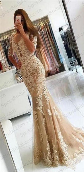 Charming Lace Yellow Mermaid Popular Prom Dress, Half Sleeves Prom Dresses, Evening Dress, PD0444