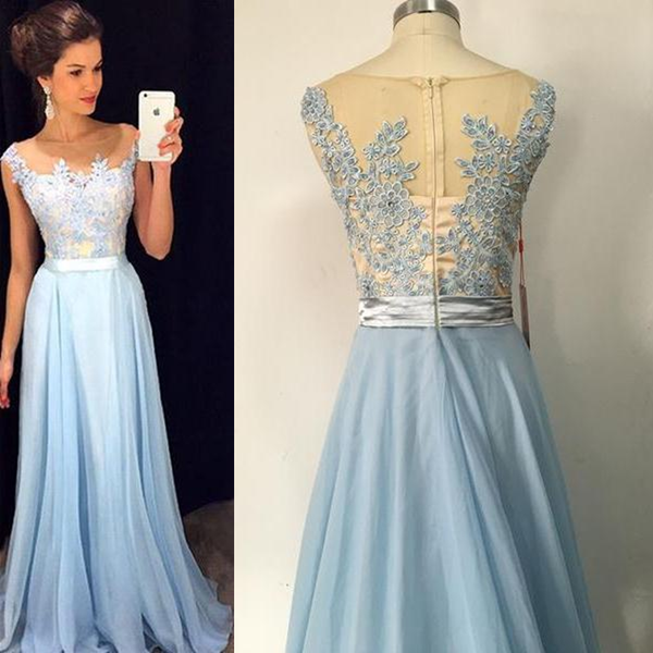Charming Lace chiffon Blue  Cheap Long V Neck Formal  Pretty Elegant Prom Dresses,PD0613 - SposaBridal