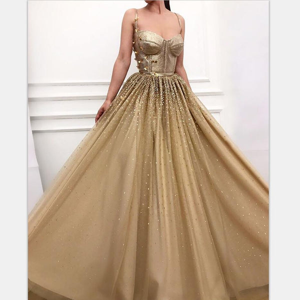 Charming Long Gold  Spaghetti Straps Gorgeous Sparkly Modest Prom Dresses, Evening dresses, PD0903 - SposaBridal