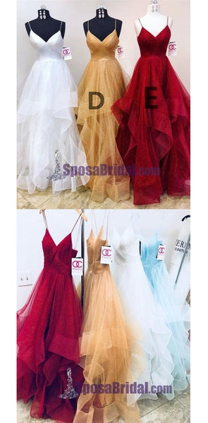 Charming Long Spaghetti Straps Tulle Simple Popular Fashion  Prom Dresses, Prom Gowns For party, PD0582