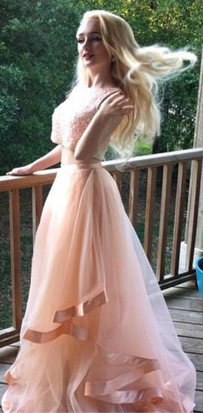 Charming Long Two Pieces Beading Pink Popular Fashion Gorgeous Prom Dress, PD0385