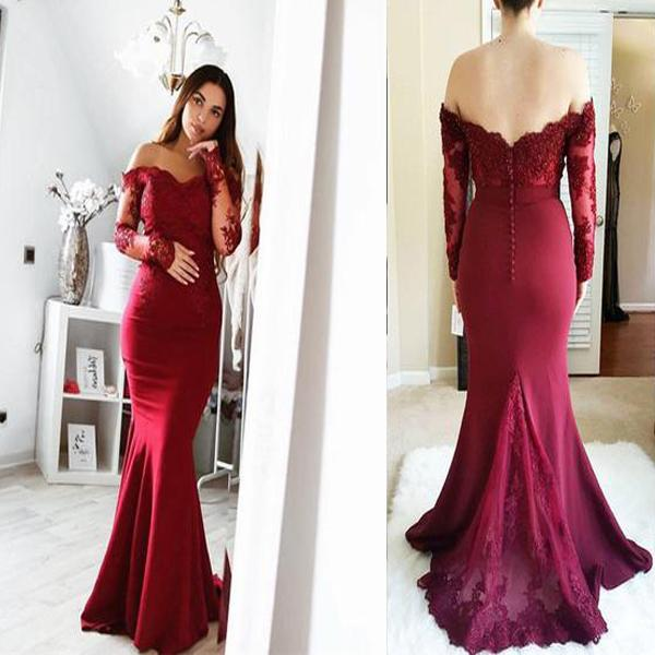 afd1fdbedc Charming Mermaid Cheap Modest Prom Dress, Lace Long Sleeves Mermaid Off  Shoulder Floor Length Bridesmaid