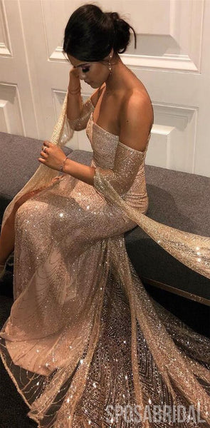 Charming Modest Long Sleeves Sequin Sparkly ELegant Formal Vintage Long Prom Dresses , PD1322