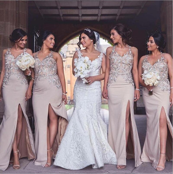 Charming New Arrival Elegant Long Cheap Modest Sexy Unique Mermaid V-Neck  High Quality Bridesmaid Dresses, WG265 - SposaBridal