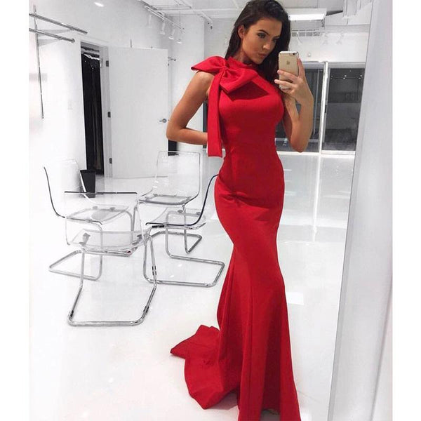 Charming Popular New Style Red Mermaid Long Prom Dresses With Bow,Evening Dress, Formal Gowns PD1225