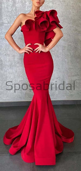 Charming Mermaid One Shoulder Satin Unique Cheap Long Prom Dresses PD1943