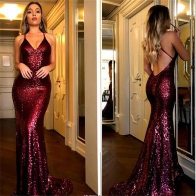 Charming Red Sequin Sexy Mermaid  Popular Modest Fashion Tend Prom Dresses, Party Evening dress, PD0659 - SposaBridal