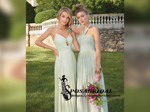 Charming Sage Burdundy Lilac Chiffon Mismatched Long Custom Cheap Bridesmaid Dresses,WG315 - SposaBridal