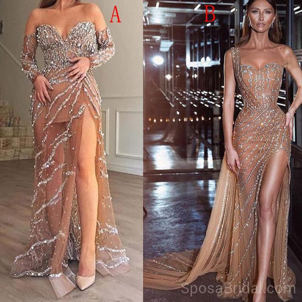 Charming Sequin Sparkly Stunning Mermaid Modest Long Formal Party Prom  Dresses, PD1210