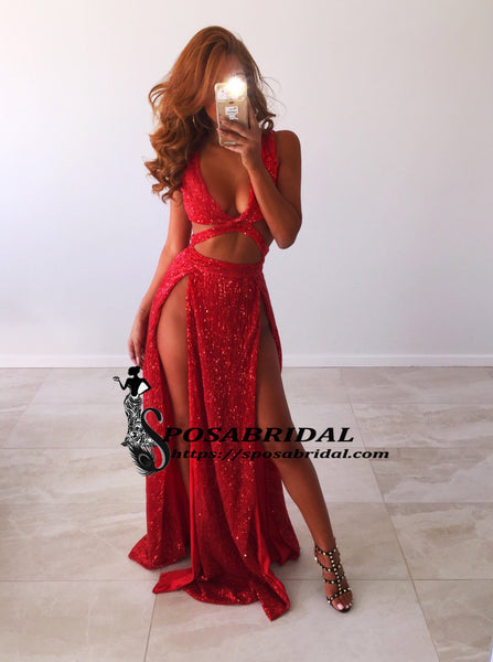 Charming Sexy Sequin Sparkly Simple Red and Black Split Fashion Popular Prom Dresses, Evening dresses, PD0778 - SposaBridal