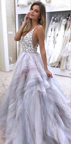 14385064315 Charming Sparkly Gorgeous Modest Open Back Rhinstones Prom Dresses online