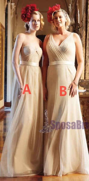 Charming Sweetheart Simple Tulle Floor-Length Cheap Custom Bridesmaid Dresses, Wedding Party Dresses , WG235