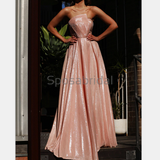 Charming Unique Deisgh High Quality Strapless Modest Long Shining Prom Dresses, Prom Dress PD1846