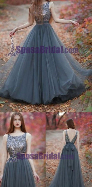 Charming  V-Back Tulle Gray Popular Pretty Evening Long Prom Dresses Online,PD0140