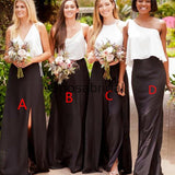 Cheap Fashion Black Mismtched Long Beach Bridesmaid Dresses WG852
