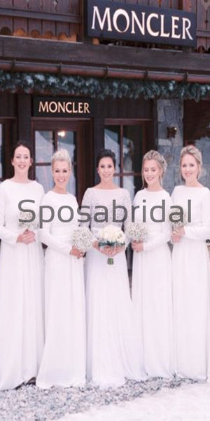 Cheap Long Sleeves Off White Simple Long Bridesmaid Dresses WG711