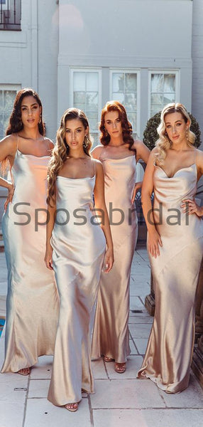 Cheap Long Spaghetti Straps Simple Modest Bridesmaid Dresses WG685