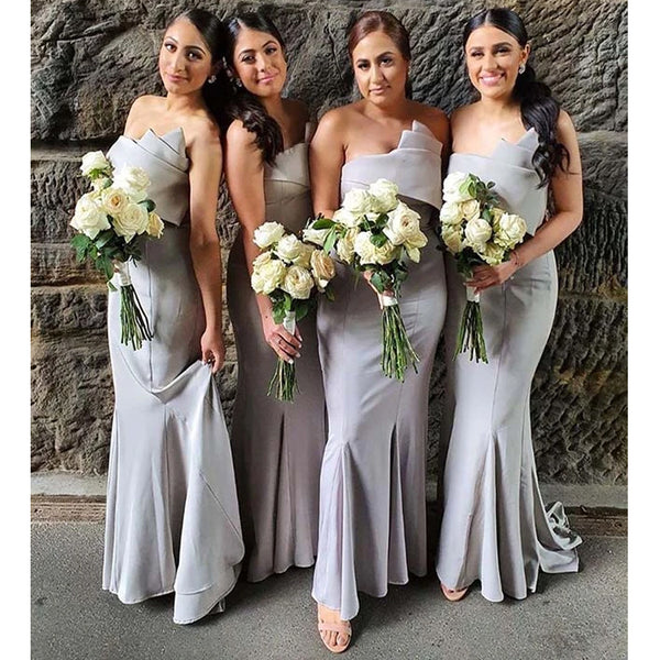 Cheap Mermaid Grey Elegant Bridesmaid Dresses WG933
