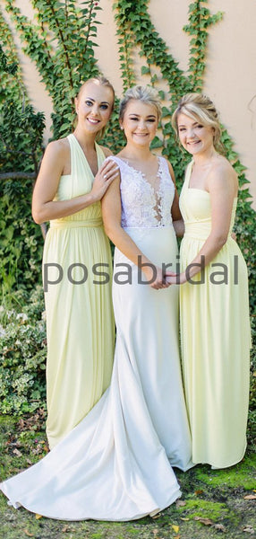 Cheap Pastel Yellow Chiffon Popular Long Bridesmaid Dresses WG790