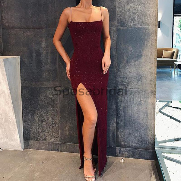 Cheap Spaghetti Straps Mermaid Burgundy Sequin Long Prom Dresses PD2203