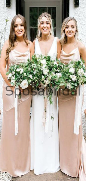 Cheap Spaghetti Straps Soft Beach Long Bridesmaid Dresses WG877