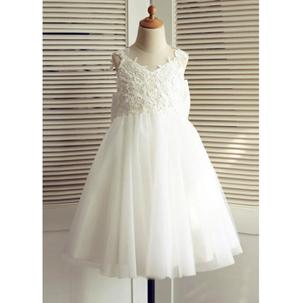 Cheap A-Line V-Neck Backless White Flower Girl Dress with Appliques Bowknot , FG110 - SposaBridal
