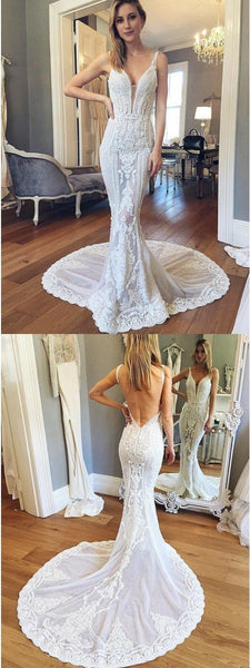 Cheap Beach Simple Mermaid V-Neck Backless Train Court Train Wedding Dress with Appliques, WD0087 - SposaBridal