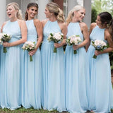 Cheap Chiffon Newest Beach Affordable High Neck Blue Popular Simple Long Bridesmaid Dress, PD0401 - SposaBridal