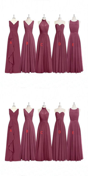 Cheap Formal Elegant Chiffon Mismatched Soft Modest  Floor-Length Bridesmaid Dresses, WG12 - SposaBridal